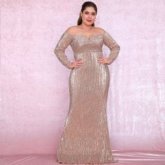 Plus Size Sexy Rose Gold Deep V-Neck Off-The-Shoulder Bodycon Elastic Sequins Maxi Dress Gold Formal Dress, Rose Gold Sequin Dress, Sequin Maxi, Lace Dress, Plus Size Sequin Dresses, Plus Size Bodycon, Winter Dresses, Evening Dresses, Glamorous Outfits