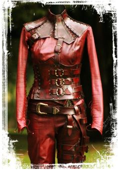 """Legend of the Seeker"" - Mord'Sith costume - 3 buckle corset and slightly mottled red leather"