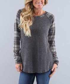 This Coco and Main Charcoal Plaid Baseball Tunic - Women & Plus by Coco and Main is perfect! #zulilyfinds