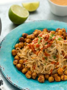 300 calories/serving (if making 4 servings) http://kblog.lunchboxbunch.com/2015/06/sriracha-peanut-soba-noodles-chickpeas.html