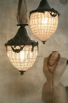 'antique reproduction small beaded lantern chandelier'  ❀ ~  ◊  photo via    'eloquence inc'