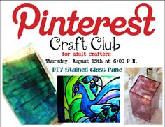 Pinterest Craft Club for Adult Crafters - DIY Stained Glass Pane | Ripon Public Library