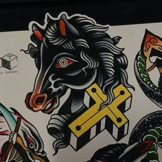 #traditional #tattoo #horse #cross