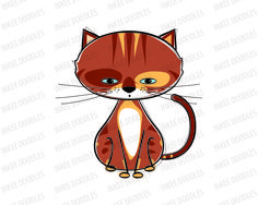 Cats Clip Art - hand drawn doodle sketches of cute cats run walk sit sleep animals fish yarn for Educational, Personal, COMMERCIAL USE 30013, $5.00 #animals #cats #doodles