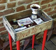 this is done with a crate from soda box but you could use any kind of wood box