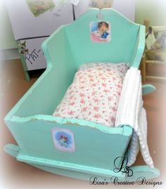 green upcycled shabby chic doll cradle 2 526x600 Before and After: Upcycled Vintage Doll Cradles