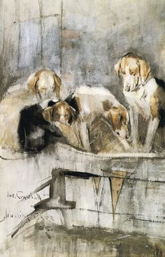 Foxhounds - Gingling Gate 1886 by JOSEPH CRAWHALL, R.S.W. (1861 - 1913)