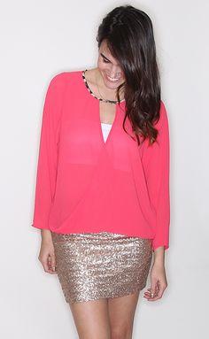 Hot Pink Slouch Blouse - Shop Riffraff
