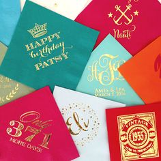 These gorgeous custom cocktail napkins are available in dozens of colors!! Great for weddings, showers, and events!