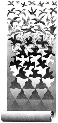 MC Escher This piece shows the metamorphosis of art, how it starts from a place and grows into something drastically different. The art was the metamorphosis. Mc Escher Art, Escher Kunst, Illusion Kunst, Illusion Art, Op Art, Math Art, Dutch Artists, Art Graphique, Art Design