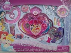 "Disney Princess ""With a Loving Heart"" Make-Up Kit with Jewelry, 12 Pcs. by Disney. $19.99. Disney Princess ""With a Loving Heart"" Theme. Make-Up and Jewelry. Includes 12 Pieces. Heart Shaped Compact, Earrings, Necklace and more. Contents of Package: 1. Blush 2. Pearl Lip Gloss 3. Sparkling Lip Gloss 4. Glitter Gel 5. Mini Lip Stick 6. Clip-On Earrings 7. Necklace with Pendant 8. Hair Comb 9. Mirror 10. Stickers 11. Applicator 12. Sponge"