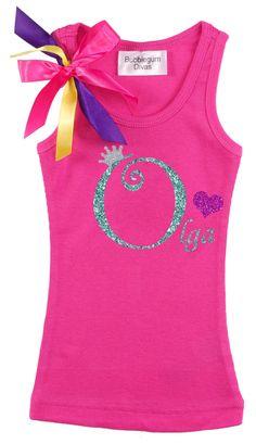 Girls Birthday Shirt Personalized Initial O by BubbleGumDivas