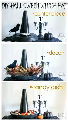 easy DIY Halloween Witch Hat (candy dish, serving tray, decor, centerpiece)