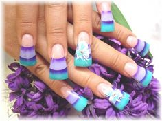 Fancy Beautiful 3 Layer Purple Turquoise Acrylic Nail Art Design with Flowers Motif - Nail Art Acrylic Designs