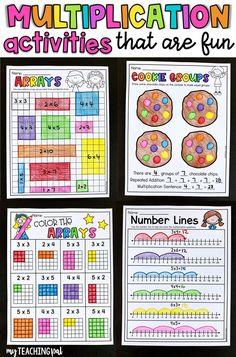 10 Worksheets Number Sentences Multiplying by 3 Multiplication Number Lines Multiplication Activities, Math Activities, Numeracy, Multiplication Properties, Repeated Addition Multiplication, Math Fractions, Second Grade Math, 4th Grade Math, Grade 3