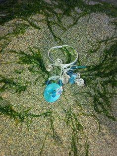 Turquoise Blue Shell Button Beaded Wire Ring or by OnenJewellery, £10.00