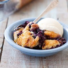 Don't Mess with Texas-Style Blueberry Cobbler   (While many think of cobbler as juicy fruit under a biscuit topping, in the Lone Star state it's more like a fruit-packed snack cake.)