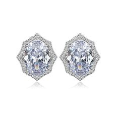 Aliexpress Por Creative Luxury Cz Crystal Geometric Clip Earrings Women Gift Silvery Color Daily Wear Party Accessory From Reliable