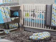 Modern lime green, grey, and aqua elephant baby room decor