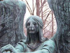 The Haserot Angel - Lakeview Cemetery Lakeview Cemetery, Gardens Of Stone, Collections Of Objects, Legends And Myths, Motorcycle Travel, Don't Blink, Snow Scenes, Image Photography, Love Art