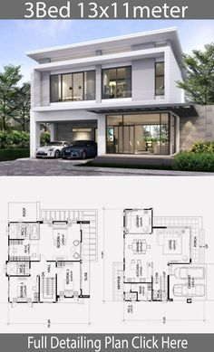 Contemporary Cape House Plans New Home Design with 3 Bedrooms 2 Storey House Design, Duplex House Design, House Front Design, Small House Design, Modern House Design, Modern House Facades, Haus Am Hang, Model House Plan, Architectural House Plans