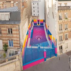 Technicolor Basketball Court located in Paris Tag someone you would play with! … Technicolor Basketball Court located in Paris 😍 Tag someone you would play with! Via: By Ill-Studio Design Agency Source Basketball Park, Outdoor Basketball Court, Street Basketball, Basketball Scoreboard, Basketball Birthday, Nike Basketball, Interior Design Programs, Best Interior Design, Ill Studio
