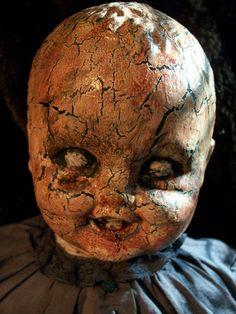 "This makes me laugh with how horrifying it is!   Vintage Haunted Creepy Dark Spooky OOAK Altered Art Prop Doll by Lorcheenas, via Etsy.  Part of my ""Creepy Critters"" Treasury:   http://www.etsy.com/treasury/Njc0NDA2NXwyNzIwODIxMzUz/creepy-critters"