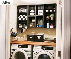 Basement Laundry Room ideas for Small Space (Makeovers) 2018 Small laundry room ideas Laundry room decor Laundry room storage Laundry room shelves Small laundry room makeover Laundry closet ideas And Dryer Store Toilet Saving Small Laundry Rooms, Laundry Room Organization, Laundry Storage, Laundry Room Design, Diy Storage, Storage Ideas, Storage Shelves, Organization Ideas, Room Shelves