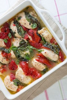 Baked Chicken Recipe With Roasted Peppers from @Inspired Taste | Joanne and Adam
