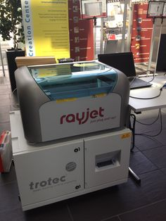 Our Trotec Rayjet Laser with which we are engraving the CowTags of CowCrowd (www.cowcrowd.com)