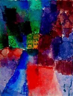 "Paul Klee (1879-1940), ""Das Gelbe Haus"", 1914. Aquarelle sur papier, marouflé sur carton"