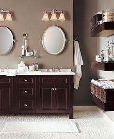 FLOOR Love this color for bathroom redo, getting rid of tacky deco soon,Benjamin Moore Shenandoah Taupe Taupe Bathroom, Bathroom Paint Colors, Small Bathroom, Master Bathroom, Bathroom Ideas, Downstairs Bathroom, Bathroom Shelves, Colors For Bathrooms, Guest Bathrooms