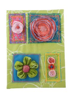Flowers in 4 seperate panels on printed canvas by colourbeauty.