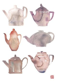 Kitchen decor, Chinese teapots, Tea poster, Gray, Shades of grey, Tea art, Watercolor painting. $25.00, via Etsy.