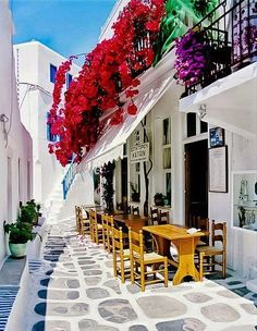 Cafe in Street, Mykonos Island, Greece. Must go to Mykonos! Cyclades Greece, Mykonos Grecia, Mykonos Island, Santorini Greece, Paros Island, Athens Greece, Mykonos Town, Santorini Travel, Places Around The World