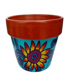 Sunflower Bloom  8 Inch Original Hand Painted plant pot by leahreynolds on etsy.