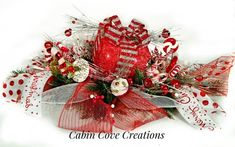 Candy arrangement Sweets - Christmas Floral Arrangement Sweet Treat Centerpiece Prelit Gift Box Candy red white silver FuN CUSTOM Design by Cabin Cove Creations. Candy Arrangements, Christmas Floral Arrangements, Christmas Centerpieces, Christmas Decorations, Christmas Garlands, Christmas Gift Box, Christmas Mantels, Christmas Ribbon, Christmas Holidays