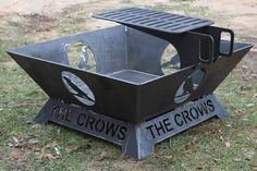 Fire pit made out of 1/4 inch steel. Custom artwork and text. It has a large cooking surface.