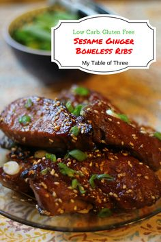 Low Carb Sesame Ginger Boneless Ribs ...with Freezer Meal Option