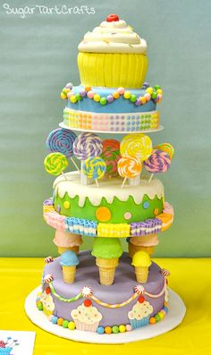 """The """"Sweet"""" 16 Candy Shop Cake - like the ice cream cones (website has instructions)"""