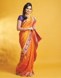 One Saree that every maharashtrian women wants...Paithani, this saree is very close to every marathi woman's heart because of the rich look of the saree...#Orange #paithanee #traditional #saree #zeemarathi #ShrutiMarathi #beautiful #Marathi