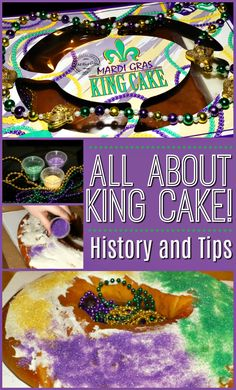 Learn a little history on Mardi Gras King Cake decorating tips and of course see this year's Louisiana made King Cake! Cupcake Recipes, Cupcake Cakes, Dessert Recipes, Donut Recipes, Cupcakes, Party Food And Drinks, Party Desserts, King Cake History, Sugar Sprinkles
