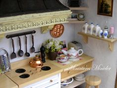 Miniature Dollhouse Kitchen RoomBox Old Style Fully by Minicler