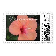 Coral Hibiscus Wedding Postage