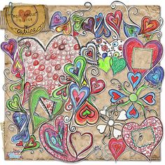 Mon Amour hearts by Catrine; #doodles