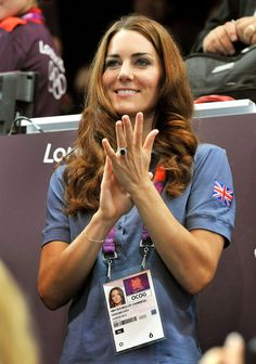 Catherine, Duchess of Cambridge applauds during the Women's Handball Preliminaries Group A match between Great Britain and Croatia. August 5, 2012
