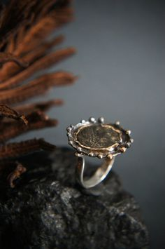 Roman coin ring, ancient coin ring, sterling silver and gold ring, statement…