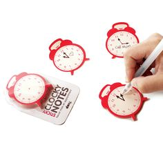 Sticky Clock Notes 2 Pack red, workspace, memo pads