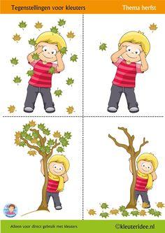 Tegenstellingen voor kleuters 1, vier werkbladen, thema herfst,  kleuteridee, Preschool opposites 1,  free printable.