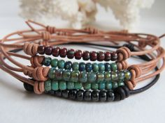 Leather Beaded Adjustable Anklet, Boho Stackable Bracelet, Casual Summertime Jewelry ~ by Hello Sweetie Handmade